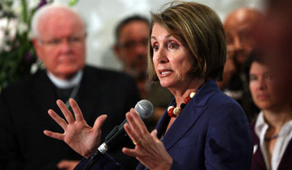 Speaker Nancy Pelosi at a gathering of interfaith leaders in San Francisco today (Justin Sullivan/Getty)