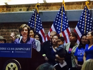 House Minority Leader Nancy Pelosi speaking to a Women's Equality Day crowd in San Francisco