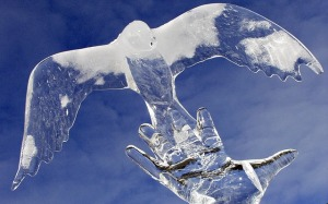 carved ice dove