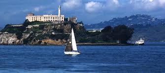 Sailboat behind Alcatraz