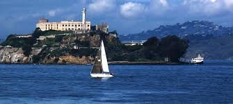 Sailboat behind Alcatraz