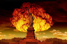 Nuclear explosion behind statue